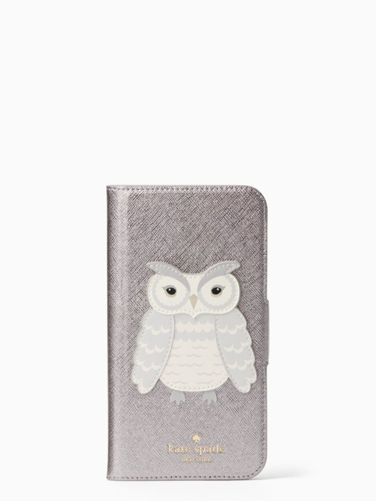 OWL APPLIQUE FOLIO IPHONE X CASE