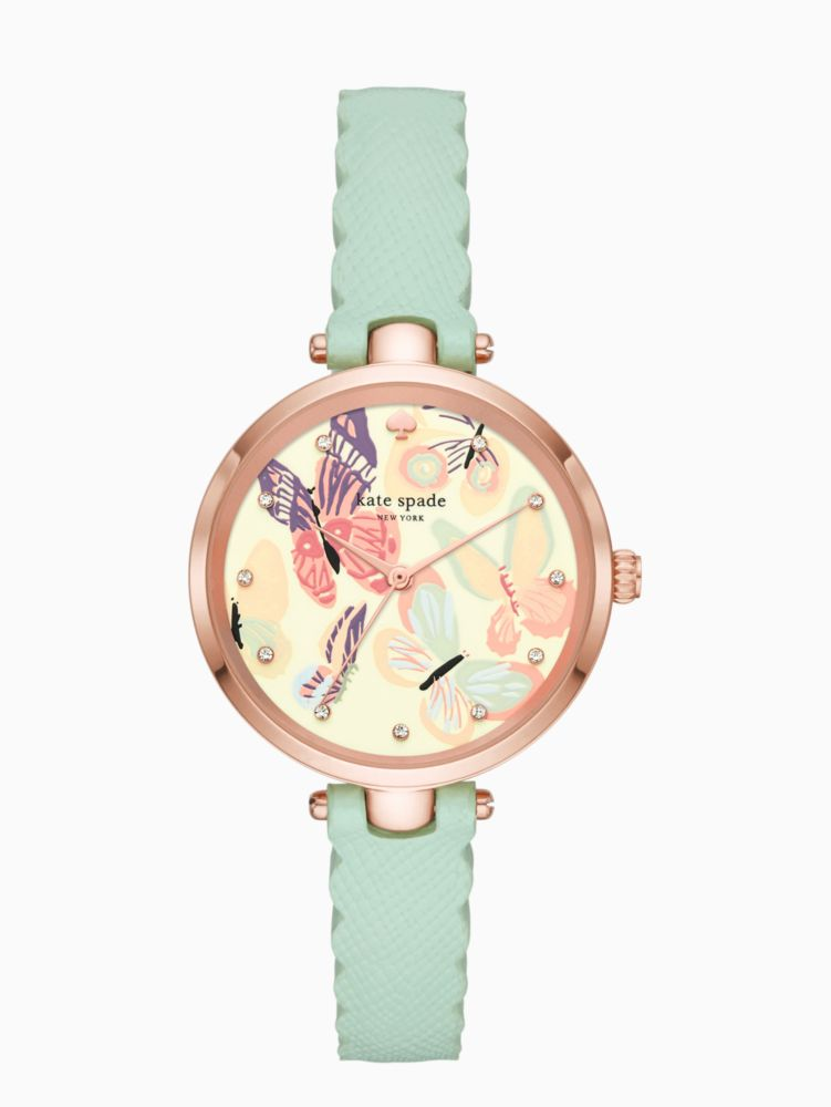 Holland Butterfly Leather Strap Watch, 34Mm, Green/ Blue/ Pink