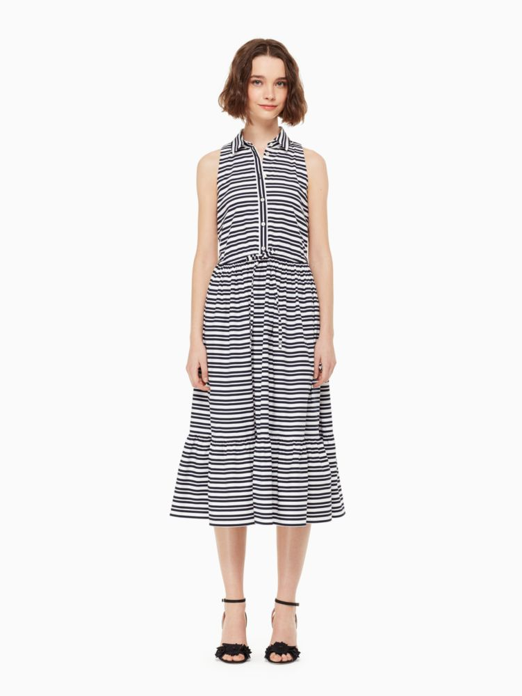Candy Stripe Stretch Cotton Shirtdress, Rich Navy