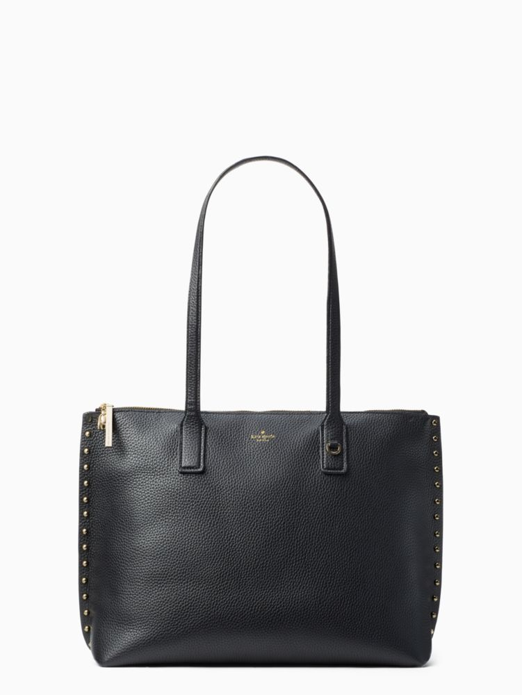on purpose studded leather tote