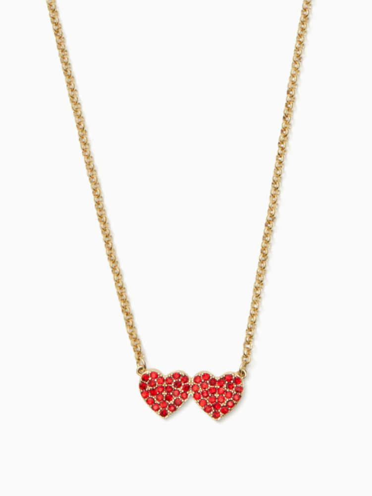 Yours Truly Pave Heart Pendant Necklace, Red